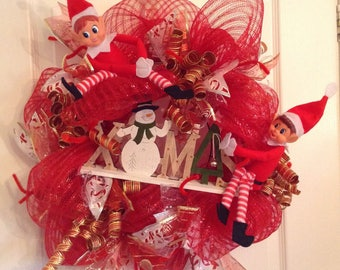 Naughty Elves Christmas Wreath