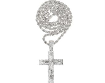 Iced Out Jesus On Cross Pendant on 24 or 30 inch Rope Chain