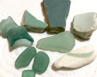 Teal Green Beach Finds * Ocean Colored Sea Pottery * Beach Decor * Beach for Home Set * Frosted Sea Glass * Beach Pottery* Ceramics Pieces