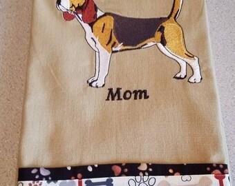 Embroidered Kitchen Tea Towel-Dog-Beagle