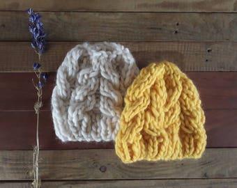 Natural 100% Merino Wool chunky Hat