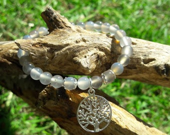 Grey Malaysian Jade Beaded Bracelet with Sterling Silver Tree of Life Charm