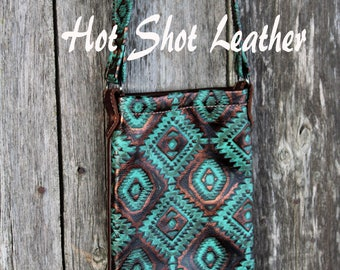 Pouch style crossbody leather purse