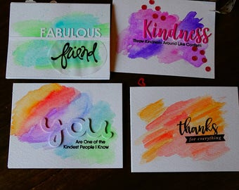 Handmade watercolored greetin card, colored kindness and thank you greeting card.