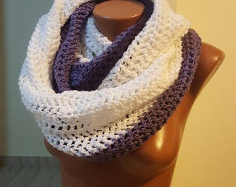 Handmade Scarf / Scarves / Infinity Crochet Scarf / White Purple  Scarf / Chunky Scarf / Winter Scarf / Winter Shawl / Gift for Her  / Scarf