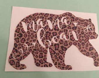 Leopard Print mama bear decal