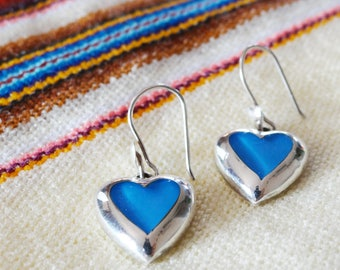Handmade Peruvian earrings - blue heart
