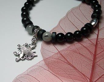 Natural Black Tourmaline Rutilated Quartz Black Wood Bracelet Love Protection Man Luck Power