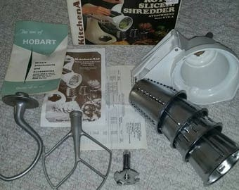 Vintage Kitchenaid Hobart mixer attachments. Slicer, beater with box