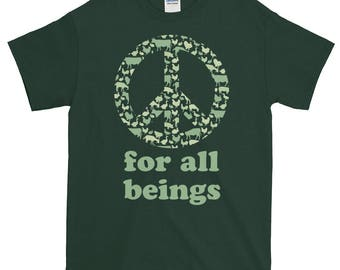 Peace for all beings vegetarian t-shirt, Animal lover tee, Animal Rights Tee, Cruelty Free Short Sleeve Unisex T-Shirt, Animal Rights shirt