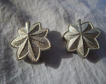 WW 2 Military Major Oak Leaf Collar Insignia Pair