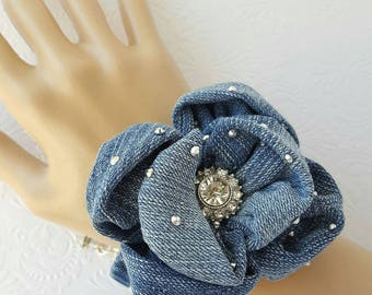 Denim Bracelet Upcycled Denim Cuff Bracelet with Rhinestones and Faceted Glass