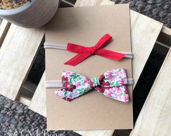 Hand tied bow nylon headband