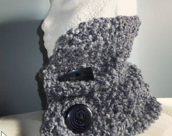 neck warmer blue tweed