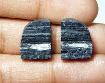 Pair ! A+++ ! Black tourmaline Druzy Loose Gemstone, Gorgeous black tourmaline Druzy Cabochons Excellent Gemstone 34.65cts, 2 Pieces.