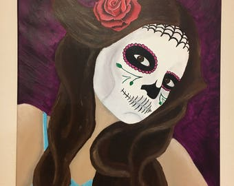 "Day of the Dead - ""Daughter of the Dead"" Acrylic Painting on 16x20 Stretched Canvas"
