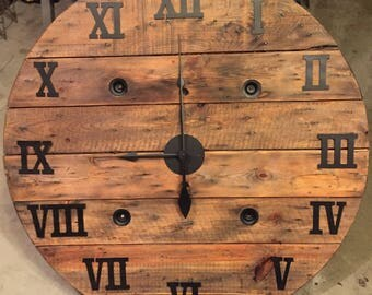 42 inch handcrafted spool clock