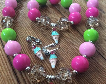 Ice cream charm bubblegum bead set