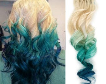 Tape In Colorful 100% Human Hair Extensions Teal Green Blue with 613 Blonde Root Ombre Mermaid Hair Style 2018 Hair Color Style