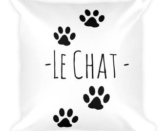 Le Chat Square Throw Pillow