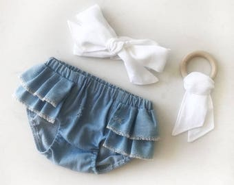 Bloomers distressed denim girls  with ruffles