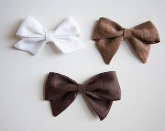 Large and Extra Large Linen Schoolgirl Bows on Headband or Clip