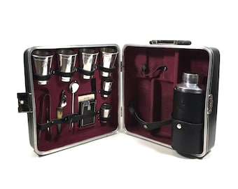 Travel Bar Set with Aluminum Barware by Executair, Vintage Trav-L-Bar Portable Pub in Black Carry Case