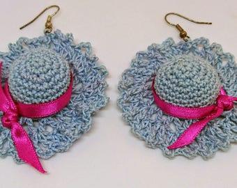Crocheted blue earrings
