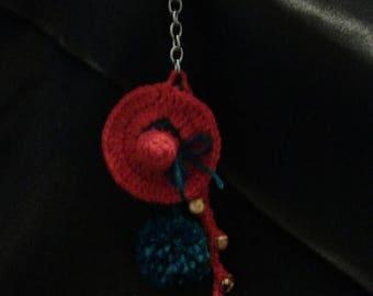 Keychain - Red and dark blue hat