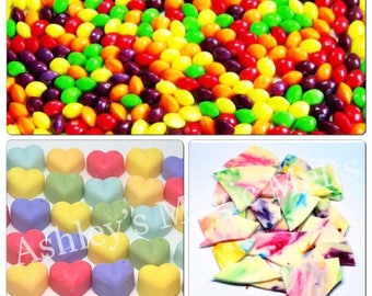 5 Skittles soy wax melts, sweet wax melts, scented gifts, bakery wax, strong wax melts, best wax melts, cheap wax melt tarts