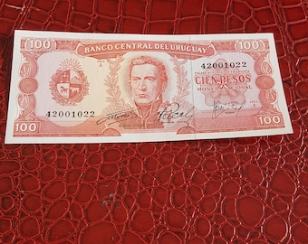 1967 Bank of Uruguay 100 Pesos Bank Note ~UNC