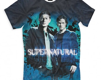 Supernatural Winchester Brothers Art Full Print T-Shirt All Sizes XS-6XL