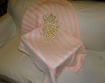 White and Pink Striped Hand Knit Baby Blanket