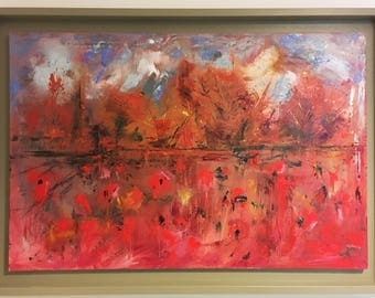 Lest We Forget: abstract landscape, oil on canvas
