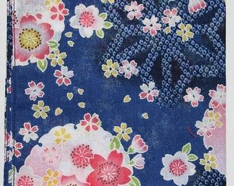 Japanese Cotton Fabric 50cm / Handkerchief - Blue Floral Sashiko