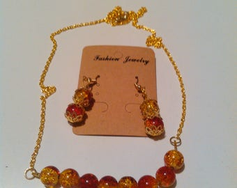 Two Tone Red and Yellow Necklace and Earrings