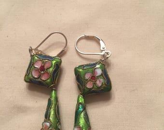 Sterling silver enamel earrings.