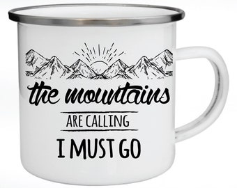 Enamel Mug, Metal Mug, Personalized Gift, Gift for Couples, The mountains are calling