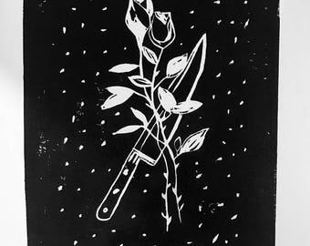 Knife & Roses Lino Print