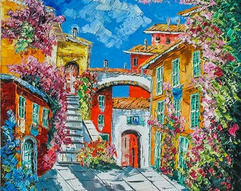 """Landscape in the Blue Coast, France, italian painting, painted oil colors . Oil on canvas, palette knife/spatula. 70x70cm (27.5""""x27.5"""")"""