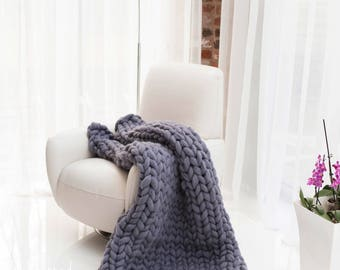 Giant knitted blanket, Huge Knit, Pure Wool Blanket. Chunky hand knitted blanket. Giant knitted throw. Wool bed Throw, Chunky Handmade Throw