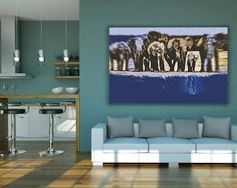 elephant army, elephant, army, elephant art, elephant poster, nature, animal, animal art, wall art, poster, print, elephant print, art