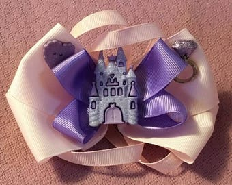 Fancy Bow, Stacked Boutique, Pink and Purple Bow, Princess Bow, Boutique Bow, girls barrette, layered over the top, Princess Castle, Ring 6""