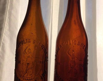 Pair of Gorgeous Indianapolis Brewing Company Bottles
