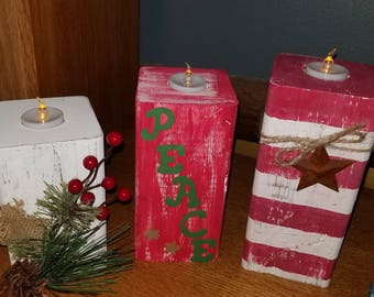 Wooden Holiday Pillar Candle Holders