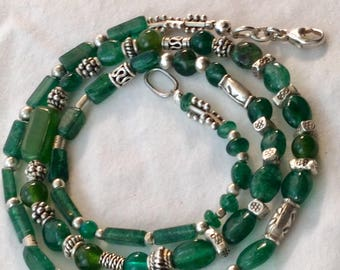 Emerald green aventurine and silver bead necklace