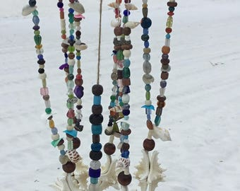 Coastal design wind chime with glass beads, starfish and shells