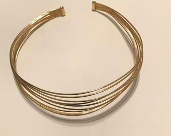 Gold plated cuff necklace