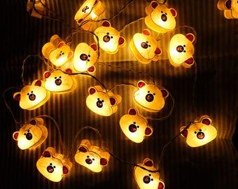 Mulberry paper bear fairy lights