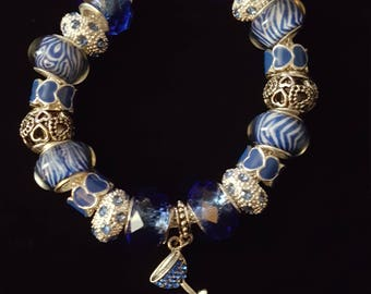 Blue & Silver Charm Bracelet w/Wine Glass Charm Dangle